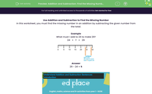'Addition and Subtraction: Find the Missing Numbers (1)' worksheet
