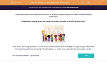 'Writing a Logical Argument: School Trips' worksheet