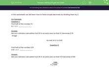'Halving Simple Decimals' worksheet
