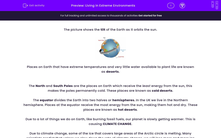 'Living in Extreme Environments' worksheet