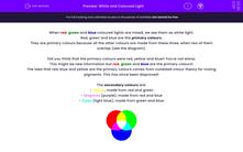 'White and Coloured Light' worksheet