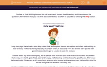 'Read and Understand Traditional Stories: 'Dick Whittington'' worksheet