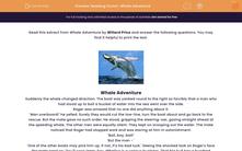 'Reading Fiction: Whale Adventure' worksheet