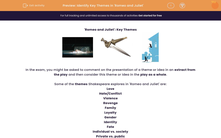 'Identify Key Themes in 'Romeo and Juliet'' worksheet