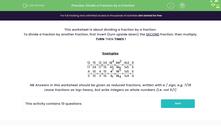 'Divide a Fraction by a Fraction' worksheet