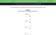 'Writing Decimal Numbers as Mixed Fractions' worksheet