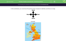 'Position and Direction: Identifying Places' worksheet
