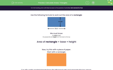 'Calculate Areas: Triangles' worksheet