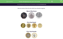 'Recognising Coins up to Two Pounds' worksheet
