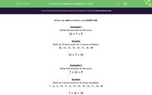 'Complete the Addition: 0 to 20' worksheet