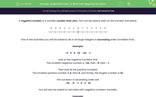 'Understand How To Work with Negative Numbers' worksheet