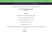 'Add Two Large Numbers Using Different Methods' worksheet