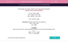 'Convert Percentages to Decimals' worksheet