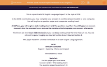 'GCSE Practice Paper in the style of OCR English Language Paper 2' worksheet