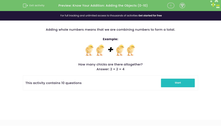 'Know Your Addition: Adding the Objects (0-10)' worksheet