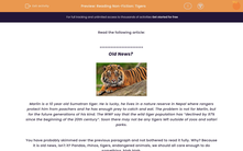 'Reading Non-Fiction: Tigers' worksheet