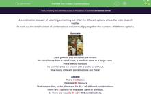 'Ice Cream Combinations' worksheet