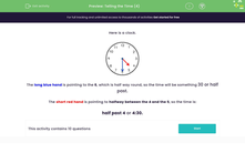 'Telling the Time (4)' worksheet