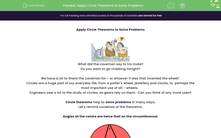 'Apply Circle Theorems to Solve Problems' worksheet