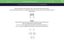 'Subtracting Fractions' worksheet