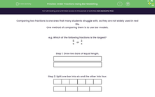 'Order Fractions Using Bar Modelling' worksheet