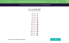 'Know Your Multiplication Tables: The 4 Times Table' worksheet