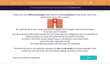 'Examine How Authors Develop Characters in their Stories' worksheet