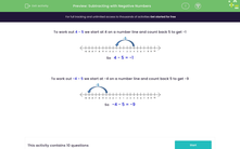 'Subtracting with Negative Numbers' worksheet