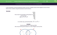 'Finding the LCM and HCF Using the Product of Prime Factors' worksheet