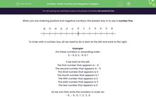 'Order Positive and Negative Integers' worksheet