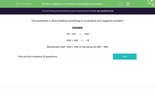 'Adding On to Positive and Negative Numbers' worksheet
