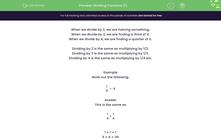 'Dividing Fractions (1)' worksheet