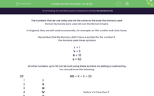 'Roman Numerals 1 to 50 (2)' worksheet