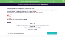 'Dividing by Numbers Less Than 1' worksheet