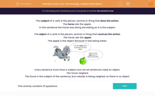 'Know Your Terminology: Subject and Object' worksheet