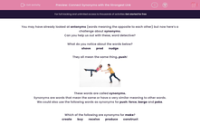 'Connect Synonyms with the Strongest Link' worksheet