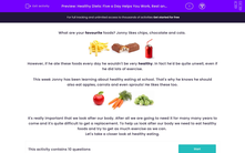 'Healthy Diets: Five a Day Helps You Work, Rest and Play' worksheet