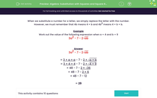 'Algebra: Substitution with Squares and Square Roots (3)' worksheet