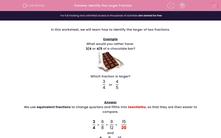 'Identify the Larger Fraction ' worksheet