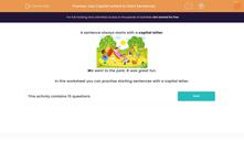 'Use Capital Letters to Start Sentences' worksheet