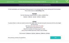 'Decimal Measurement: Arranging in Order (1)' worksheet