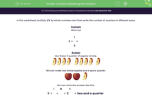 'Fractions: Multiplying with Quarters' worksheet