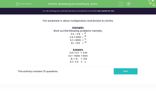 'Multiplying and Dividing by Tenths' worksheet