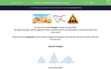 'Use Angle Properties in a Triangle ' worksheet