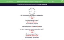 'Telling the Time: Converting Between Formats' worksheet