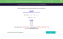 'The Distributive Law in Subtraction (Numbers <20)' worksheet