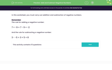 'Add and Subtract Negative Numbers' worksheet