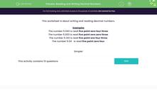 'Reading and Writing Decimal Numbers' worksheet
