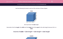 'Cubes and Cuboids: Calculate Volumes' worksheet