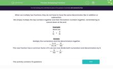 'Multiplying Fractions' worksheet
